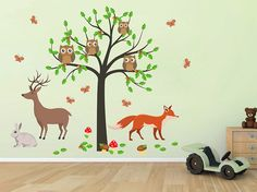 cik1658 Full Color Wall decal bedroom children's room decor Custom Baby Nursery on bed baby tree nusery decal tree forest animals