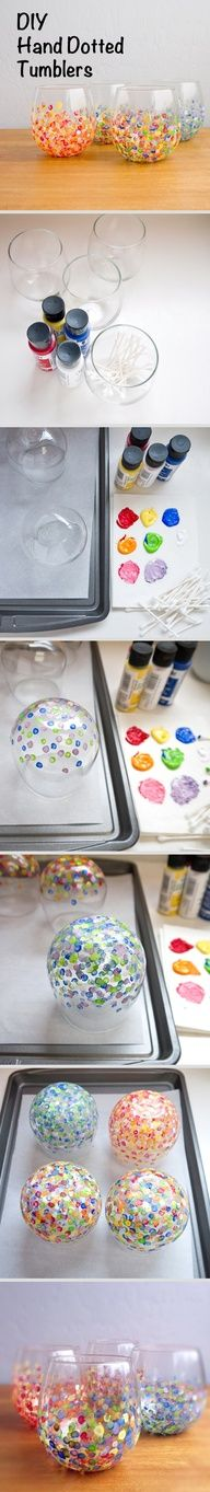 Colorful Hand-Dotted Tumblers Hand dotted tumblers: Dot base of glasses with Q-Tip in paint. Flip to dry. Bake in 350 degree oven for 30 min!Hand dotted tumblers: Dot base of glasses with Q-Tip in paint. Flip to dry. Bake in 350 degree oven for 30 min! Cute Crafts, Crafts To Do, Creative Crafts, Crafts For Kids, Arts And Crafts, Easy Crafts, Craft Gifts, Diy Gifts, Handmade Gifts