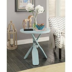Infuse your space with a rustic seaside cottage vibe courtesy of this accent table with a rustic nautical design. Blue Home Decor, Beach House Decor, Home Decor Items, Beach Condo, Beach Homes, Coastal Furniture, Coastal Decor, Furniture Ideas, Beach Furniture
