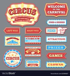 Vintage circus labels and carnival signboards vector collection. Illustration of circus label, show banner entertainment carnival Cirque Vintage, Vintage Carnival, Vintage Circus, Circus Theme Party, Carnival Birthday, Birthday Party Themes, Circus Wedding, Carnival Show, Carnival Themes