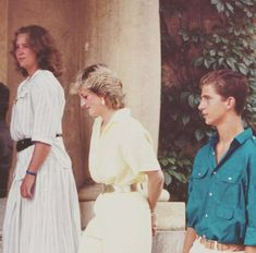 Infanta Elena of Spain, Princess Diana, Prince Felipe of Spain while Charles and Diana were visiting their parents, King Juan Carlos and Queen Sofia