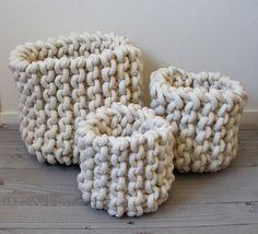 Ensemble de 3 paniers de corde tricot par marymarieknits sur Etsy