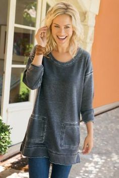 Afternoon Walk Tunic - French Terry Tunic, Soft Tunic | Soft Surroundings