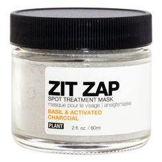 Plant Zit Zap Spot Treatment Mask - Basil & Activated Charcoal - 2 oz