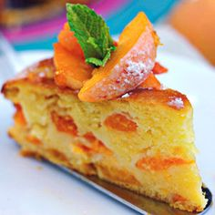 Italian Food ~ #food #Italian #italianfood #ricette #recipes ~ This Apricot and Mascarpone Cake just looks like spring, with its pastel, apricot colors and its refreshing sprig of cooling mint.