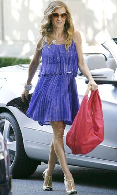 Carrie Bradshaw Wearing A Purple Dress By Halston Heritage, Sex And The City 2 Movie, 2009