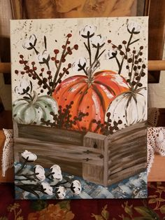 Fall Canvas Painting, Canvas Painting Tutorials, Autumn Painting, Autumn Art, Tole Painting, Diy Painting, Canvas Art, Acrylic Art, Simple Acrylic Paintings