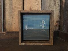 Rustic Decor, Blue, Black, Tree, Wood, Art, Primitive, Winter, Night, Landscape, Country, Cabin, Plaque