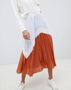b51713650c ASOS DESIGN | ASOS DESIGN color block pleated midi skirt Pleated Midi Skirt,  Color Blocking