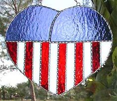 """Patriotic Flag Stained Glass Sun Catcher Design - 6 1/2"""" x 7 1/2"""" - $26.95  - Handcrafted Stained Glass Designs  * More at www.AccentOnGlass.com"""
