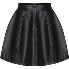 Zipper PU Flare Skirt ($15) ❤ liked on Polyvore featuring skirts, bottoms, gonne, black, knee length bodycon skirt, circle skirt, flared skirt, knee length skater skirt and zip skirt