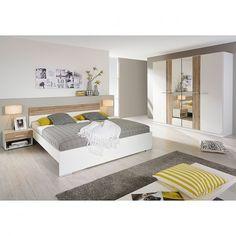 Ensemble pour chambre à coucher Badalona (4 éléments) - Blanc alpin / Imitation chêne | home24.fr