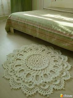 Beautiful example of a crochet rug!