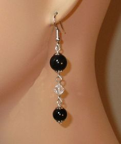made w SWAROVSKI Clear Crystal and Black Pearl Element Earrings rosary dangle #SwarovskiElements #DropDangle
