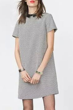 Stylish Peter Pan Collar Short Sleeve Houndstooth Women's Mini Dress