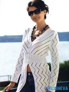Ажурный удлиненный жакет, вязаный спицами | Блог elisheva.ru