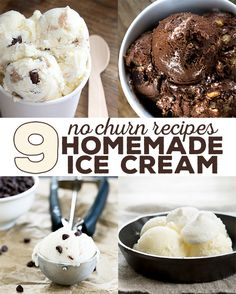 9 recipes for homemade ice cream made quickly and easily without an ice cream maker and with simple pantry ingredients. Many with only 3 ingredients total! Gluten Free Deserts, Best Gluten Free Recipes, Foods With Gluten, Easy Recipes, Diet Recipes, Paleo Dessert, Healthy Desserts, Just Desserts, Dessert Recipes