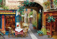"""""""Trattoria Tre Marchetti"""" is a limited edition hand embellished serigraph on canvas by Viktor Shvaiko, numbered and hand signed by the artist. x (image). Best Vacation Destinations, Best Vacations, Henri Matisse, Rue Lafayette Paris, Belle Image Nature, Fabian Perez, Naive, Landscape Art, Painting Inspiration"""