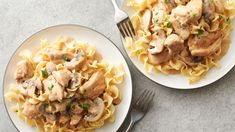 Skillet Chicken Stroganoff - This twist on family-favorite beef stroganoff comes together quickly for an easy meal to add to your weeknight dinner rotation. Easy Chicken Dinner Recipes, Best Dinner Recipes, Entree Recipes, Side Recipes, Turkey Recipes, Chicken Stroganoff, Stroganoff Recipe, Cooking Recipes, Healthy Recipes