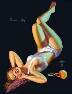 """Earl Moran - """"Some baby!"""" - Marilyn Monroe posing"""