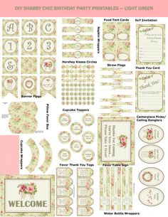 Green And Pink Shabby Chic Birthday Printable by Printables4Less
