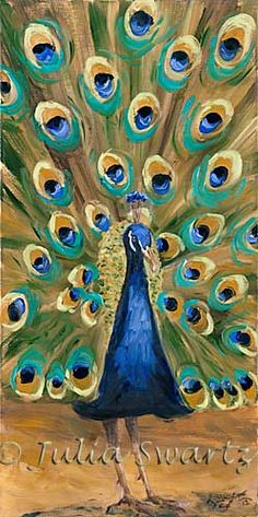 paintings of peacocks | Julia Swartz Fine Art Gallery: Peacock I - Peacock Oil Painting