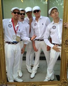 Goofing around: U.S. Olympic swimmer, Conor Dwyer (far right), posted pictures of himself with this fellow teammates as they waited for the celebrations to begin Olympic Swimmers, Olympic Athletes, Usa Olympics, Summer Olympics, Us Gymnastics Team, Conor Dwyer, Jake Dalton, Instagram Snap, Michael Phelps