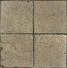 Old square tiles in beige tone with very rough surface and some vegetation in cracks. ( http://texturelib.com/texture/?path=/Textures/brick/pavement/brick_pavement_0014, 2013 )