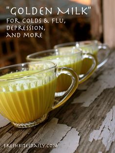 """Golden milk"" for cold, flus, depression, and more (in a recipe that actually tastes good.) - curcuma et gingembre Healthy Drinks, Healthy Recipes, Detox Drinks, Nutrition, Natural Home Remedies, Health Remedies, Herbal Remedies, Cough Remedies, Sore Throat Remedies"