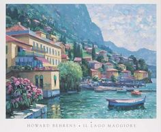 ll Lago Maggiore  by Howard Behrens Italian Painting Fine Art Giclee Print  Switzerland