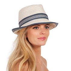 Eric Javits Luxury Fashion Designer Women's Headwear Hat - Big Deal - Cream Blue Tweed