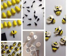 Want to make some bees to decorate your cakes or cupcakes!?You will need:Yellow sugarpasteBlack sugarpasteWhite sugarpasteSmall circle cutter or pipin...
