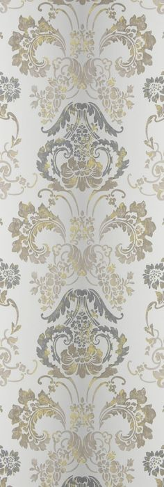 Kashgar Wallpaper A traditional damask shaded wallpaper in steel with a contemporary metallic detail.