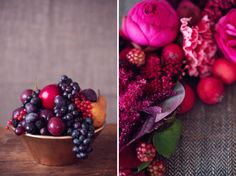 Red, berry and pantone vivacious inspiration shoot. Love the image on the left.