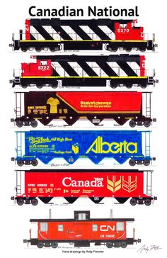 A Canadian National grain train. Hand drawings by Andy Fletcher