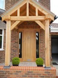 ideas oak front door porch for 2019 Front Door Canopy Uk, Porch Canopy, Front Door Porch, Front Porch Design, Front Door Entrance, House Front Door, Entrance Decor, Front Door Colors, House With Porch