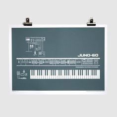 Roland Juno-60 Screen-Printed Poster (Grey)