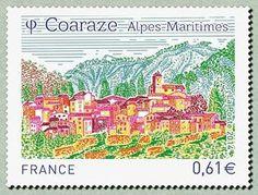 Coaraze Alpes-Maritimes Beaux Villages, France, Postage Stamps, Diagram, Culture, Map, World, Monuments, Monaco