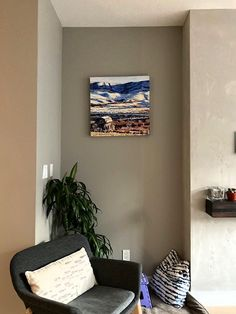 """A fine installation shot of """"Beneath Ravenscrag"""" also recently sold through van dop gallery to a collector in Edmonton. This piece depicts a view across the the Frenchman River Valley, downstream from Ravenscrag, Saskatchewan. I think the colours in the piece fit the setting perfectly. The Collector, Wolf, Gallery Wall, Van, Colours, River, Painting, Home Decor, Decoration Home"""
