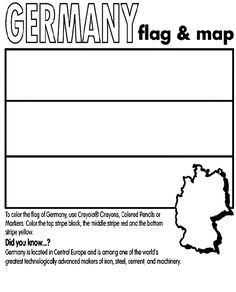 Use Crayola® crayons, colored pencils, or markers to color the flag of Germany. Color the top stripe black, the middle stripe red, and the bottom stripe yellow. Flag Coloring Pages, Coloring Sheets For Kids, Free Coloring, Coloring Books, Colouring Sheets, Germany For Kids, Flag Of Germany, Berlin Germany, Worksheets