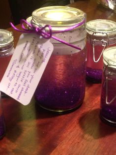 """I made meditation jars for a few of our RFL staff: """"Keep me on your desk. Shake when you get stressed. Watch it all settle and Feel your mind begin to rest.  Keep calm and  Relay on!"""""""
