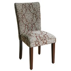 Elegant Blue and Brown Damask Parson Chairs (Set of 2) | Overstock.com Shopping - The Best Deals on Dining Chairs