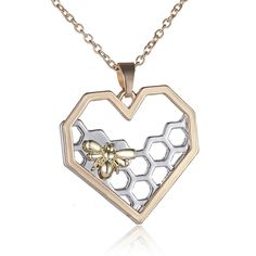 Bee On The Honeycomb Heart Pendant Necklace For Women