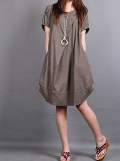 Summer dress/ cotton pleated Short sleeve dress with decorative buttons/ simple brown lantern dress