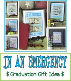 In An Emergency, break glass and use cash.  Cute idea for kids in college, or gift for someone leaving home