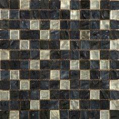 "Emser Tile Vista 12"" x 12"" Glass Mosaic Tile in Black and Gray"