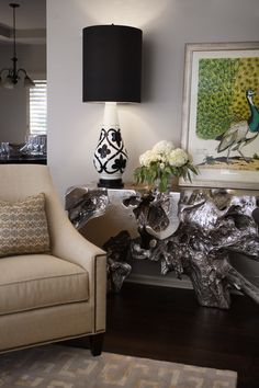 Cotton Duck Design Studio added our Sequoia Console Table to this chic space.