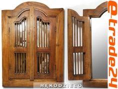 Piękna Drewniana OKIENNICA z Lustrem Rękodzieło