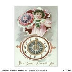 Cute Girl Bouquet Roses Clock Midnight 5x7 Paper Invitation Card