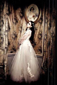 Astrid Bergès-Frisbey by Ellen von Unwerth for Vogue Italia. Love the hair, dress and decor.